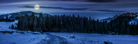 panoramic mountain landscape in winter. winding road that leads into the spruce forest on a snowy meadow at night in full moon light Stock Photo