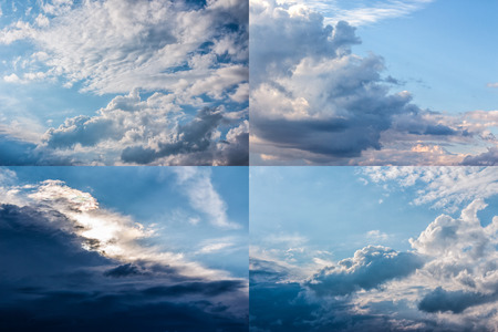 set of images with heavy clouds on a blue sky Stock Photo