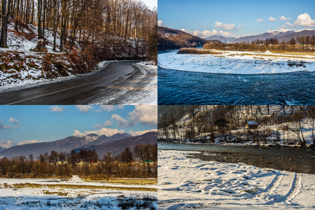 set of images with mountain forest and river in winter landscape