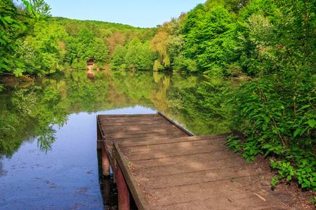 wooden piere on the lake with reflections among forest on summer morning