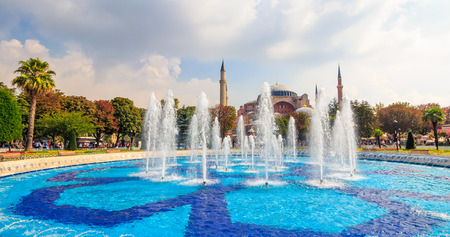 ISTANBUL, TURKEY - AUGUST 18, 2015: Fontain in park near Sophia basilica museum in Istanbul, Turkey on a bright sunny day