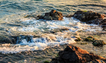 wave rolls onto the rocks on sea coast in morning light