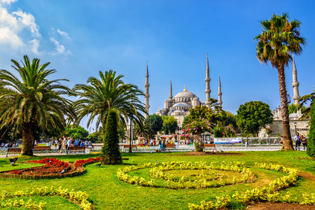 ISTANBUL - AUGUST 18: Sultanahmet Park on August 18, 2015 in Istanbul. Sultanahmet Park is historic district of Istanbul near the Blue Mosque and Hagia Sophia Museum, it is a popular area among tourists Stock Photo - 71950116