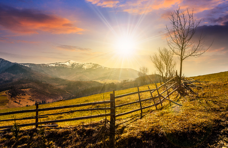 Spring time rural landscape. Wooden fence along the path through agricultural fields in Carpathian mountains in evening light