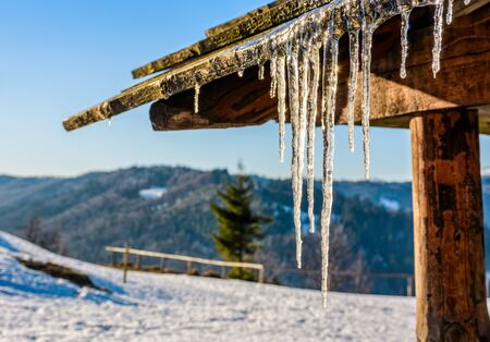 Icicles shine on the roof. Stock Photo