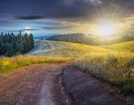 day and night time change concept. forest in mountain rural area. green agricultural field on a hillside. beautiful summer scenery