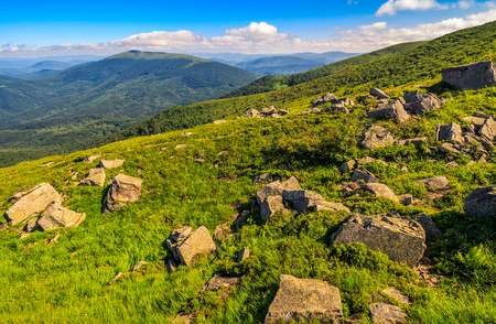 landscape with grassy meadow and giant boulders on the slope of a hill. Carpathian mountain ridge.  beautiful sunny summer day Stock Photo