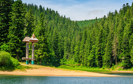 mountain lake among the green fir forest in picturesque summer landscape. beautiful weather with blue sky and some clouds in TransCarpathian National Park Synevir, Ukraine