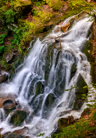 beautiful waterfall Shypot comes out of a rocky hillside in forest. spectacular landscape on mountain river view from the top. popular travel attraction in Ukrainian Carpathians. Stock Photo