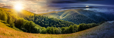 day and night change concept. composite image of panoramic summer landscape. hillside meadow near the forest in Carpathian mountains Фото со стока