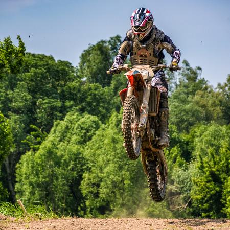 Uzhgorod, Ukraine - May 21, 2017: Dirt Bike Jumping. TransCarpathian regional Motocross Championship