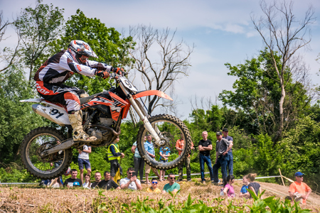 Uzhgorod, Ukraine - May 21, 2017: Extreme enduro Motocross in action. TransCarpathian regional Motocross Championship