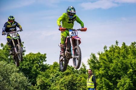 Uzhgorod, Ukraine - May 21, 2017: Extreme enduro MOTO SPORT Bike Jumping. TransCarpathian regional Motocross Championship Editorial