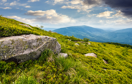 boulder on the grassy hillside. beautiful mountain landscape Фото со стока