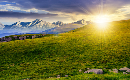 Hight Tatra mountain summer landscape. meadow with huge stones among the grass on top of the hillside near the peak of mountain range at sunset