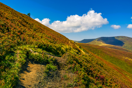 summer mountain landscape. path through the ridge to the top peak. big fluffy clouds in a blue sky Stock Photo