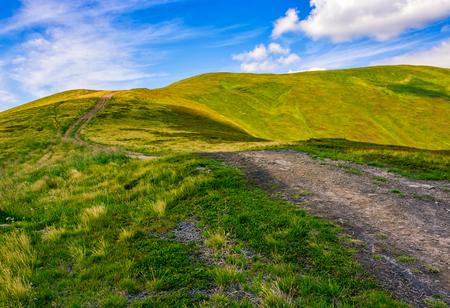 summer mountain landscape. footpath uphill through the ridge to the peak. huge boulders on grassy slope. beautiful Carpathian nature scene Stok Fotoğraf
