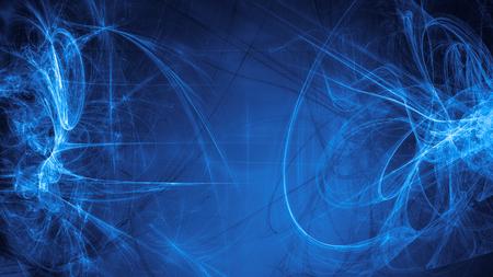青いエイリアン宇宙の夢。複合の抽象的な背景。難解なフラクタル宇宙エネルギーの流れの図