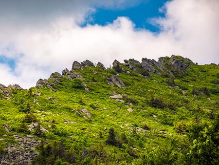 huge rocks on the edge of a mountain ridge. beautiful Carpathian nature