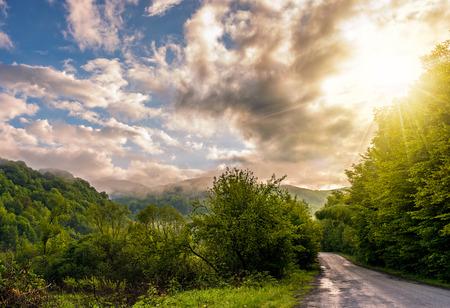 계곡에서 포리스트를 통해 좁은 시골 길. 흐린 하늘 산 위에 안개 풍경