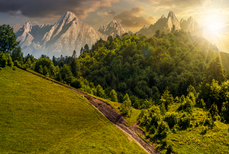footpath uphill through forest on hillside. composite landscape with High Tatrs peaks at sunset