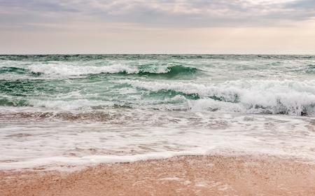 manchas verdes e poderosas do oceano na praia arenosa