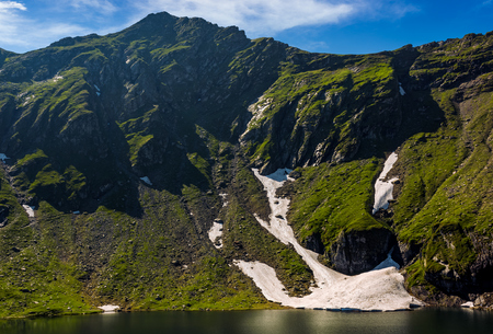 clear lake in mountains with snow and grass on rocky hillside. fine weather in picturesque summer scenery Stock Photo