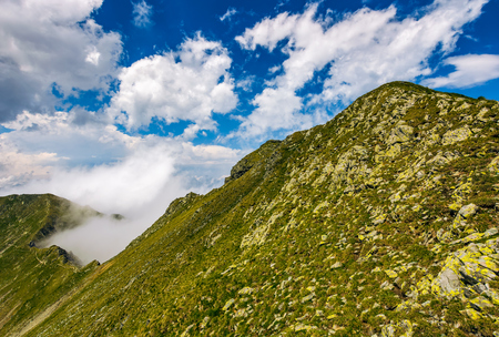 edge of steep slope on rocky hillside in foggy weather. dramatic scenery in mountains Stock Photo