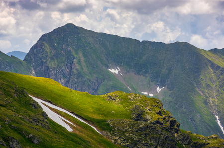 rocky edge on grassy hillside with snow. majestic carpathian summer landscape in romania mountains