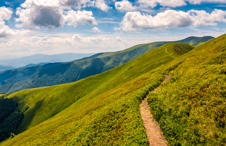 summer mountain landscape. footpath uphill through the ridge to the peak. beautiful Carpathian nature scene Stock Photo