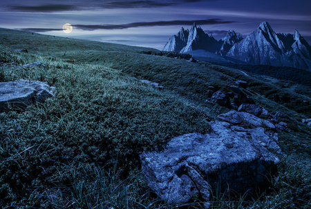 High Tatra mountain summer landscape at night in full moon light. meadow with huge stones among the grass on top of the hillside near the peak of mountain range