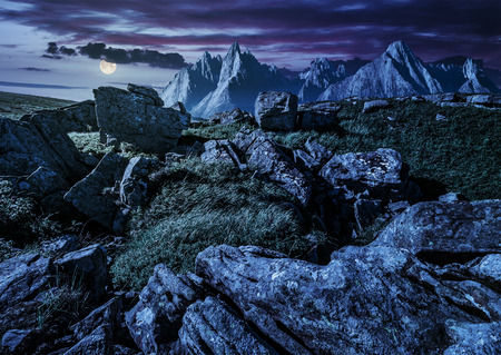 composite image of rocky peaks and rocks on hillside in High Tatra mountain ridge at night in full moon light. beautiful fantasy background Stock Photo