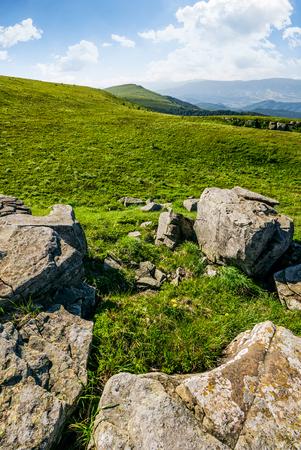 斜面に巨大な岩と草で覆われた草原。美しい日当たりの良い夏の日に山の尾根。素晴らしいカルパティア風景 写真素材