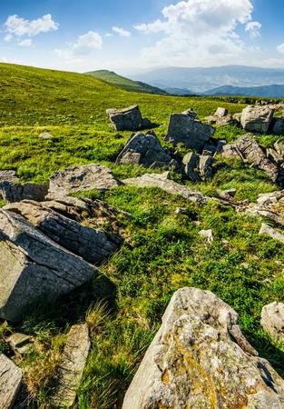 슬로프에 거 대 한 바위와 풀이 무성 한 풀밭. 아름 다운 화창한 여름 날에 산 능선. 멋진대로 풍경