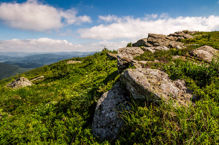 grassy meadow with giant boulders on the slope. mountain ridge on a beautiful sunny summer day. wonderful Carpathian landscape