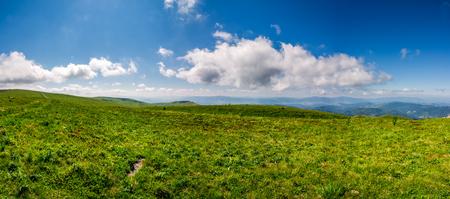 山のパノラマの夏の風景。いくつかの雲と青い空の下に天気の良い日