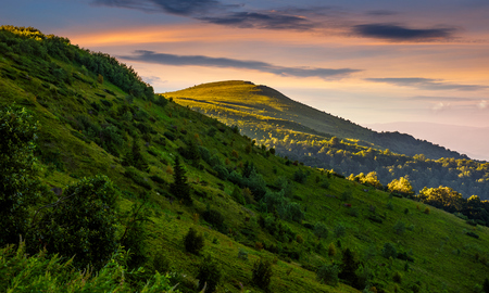 丘の中腹の背後にあるピークの山の尾根。赤い空が夕日の美しい夏の背景 写真素材 - 82615818