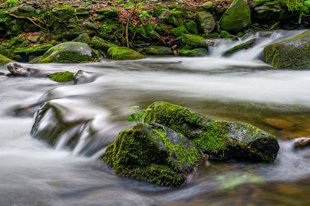 small cascades on the forest river among huge bouders covered with moss. taken with long exposure. beautiful fresh nature background Stock Photo