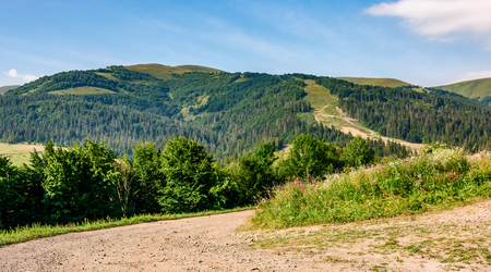 countryside road through meadow to mountains. beautiful summer scaenery Stock Photo