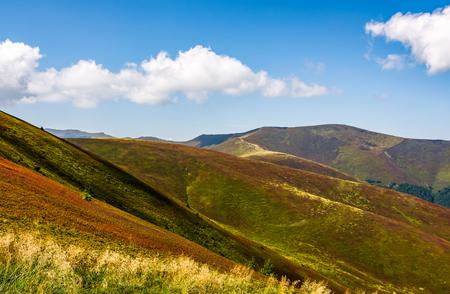Karpaten met zijn pieken, heuvels, weilanden en bossen onder de blauwe hemel met wolken in de late zomer dag Stockfoto