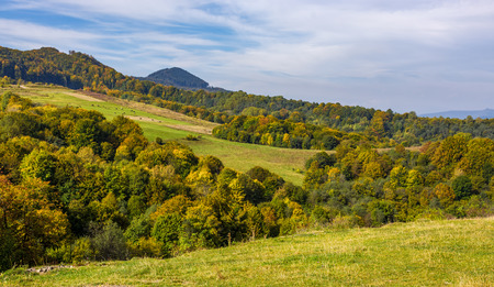 森山岳田園バレーの丘の上のカラフルな葉を持つ。素敵な早期秋山広い風景