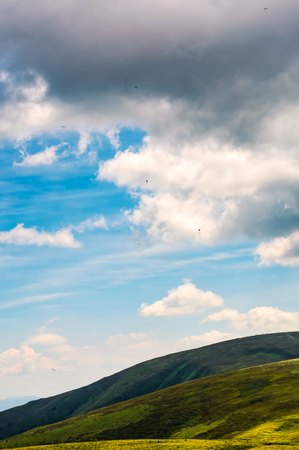 beautiful late summer landscape in carpathians. few skydivers in the flying in the sky Stock Photo - 83550557