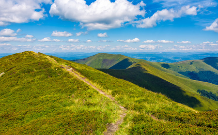 path to top peak of the ridge. gorgeous summer landscape Stock Photo