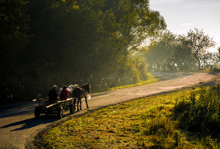Volovets, Ukraine - SEP 30, 2016: gypsy family ride a horse cart uphill the serpentine in countryside area. bright autumnal foggy sunrise in Carpathian mountains Stock fotó - 83988215