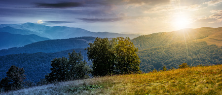 Time and day change concept. beautiful panorama of Carpathian mountains in early autumn weather. few beech tree tops behind the grassy slope of a ridge under sky with clouds with moon and sun