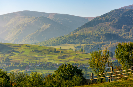 beautiful rural area in mountainous countryside. fence on hillside fields in early autumn morning mist