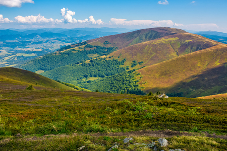 Borzhava ridge in Carpathian mountains in august. Classic late summer travel background in Carpathian alps. Wonderful evening weather with blue sky and some clouds Stock Photo