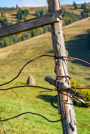 wooden fence details wrapped by a wire. simple rural style object on grassy background Stock Photo - 84185577
