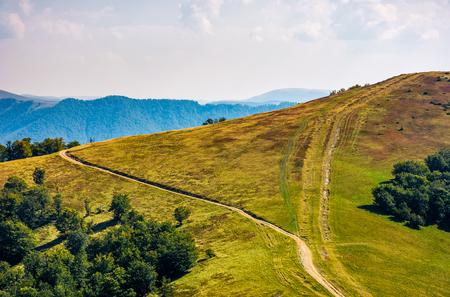 Weg durch grasige Wiesen am Bergrücken. schöne herbstliche alpenlandschaft bei schönem nachmittagswetter Standard-Bild - 84419831