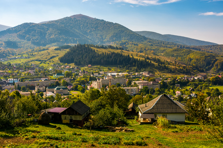 beautiful countryside of TransCarpathian town Volovets. spectacular early autumn scenery in mountains